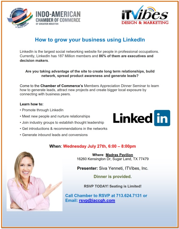 How to grow your business using LinkedIn - Seminar Flyer_Indo-American Chamber