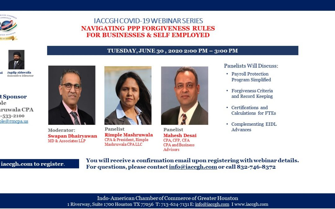 IACCGH Covid-19 Webinar Series: Navigating PPP Forgiveness Rules For Businesses and Self Employed