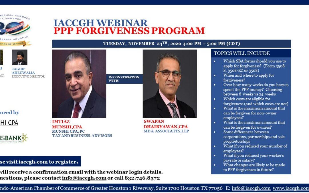 IACCGH Webinar: PPP Forgiveness Program