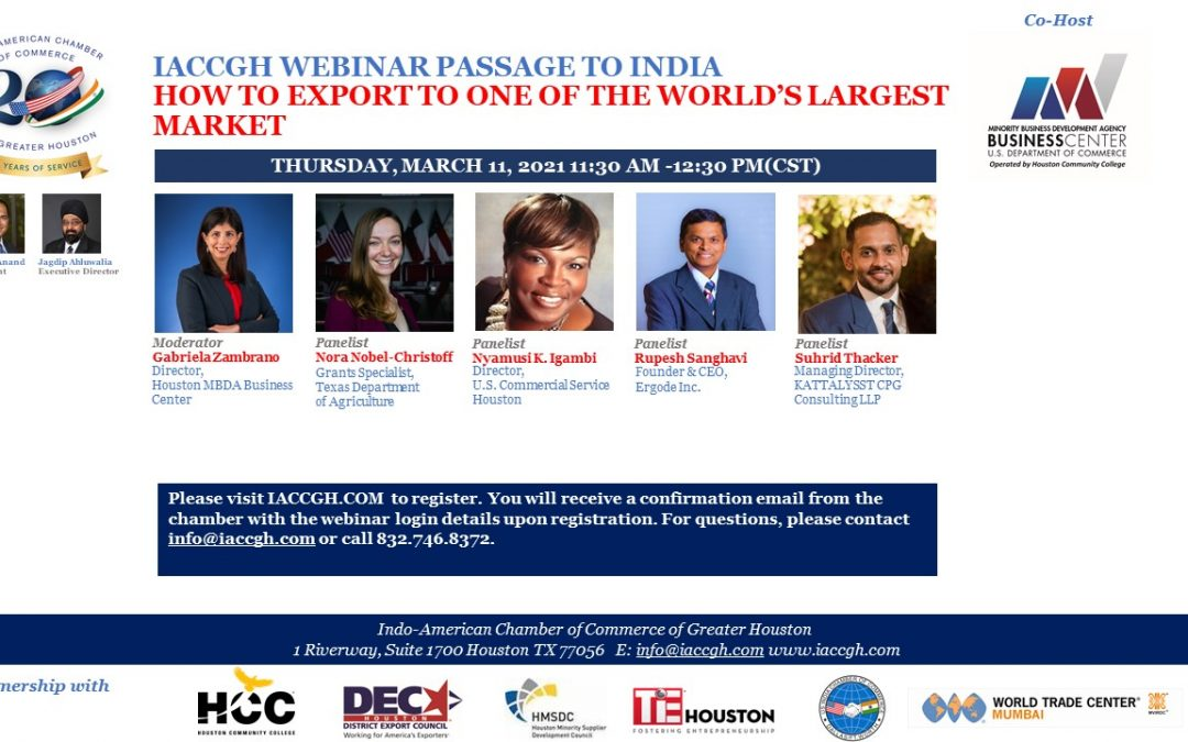 IACCGH Webinar: How To Export to One of the World's Largest Market